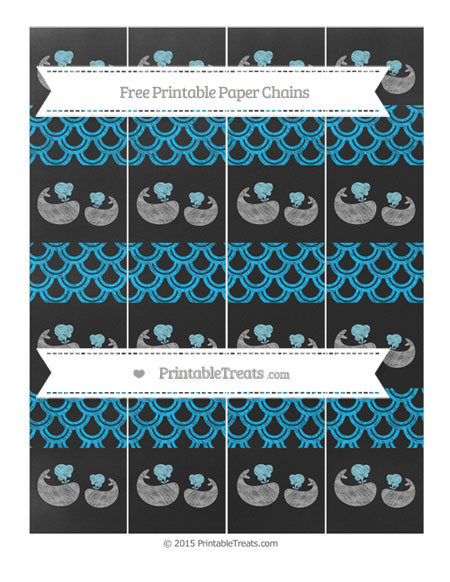 Free Deep Sky Blue Fish Scale Pattern Chalk Style Baby Whale Paper Chains