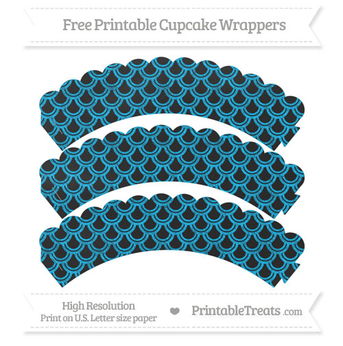 Free Deep Sky Blue Fish Scale Pattern Chalk Style Scalloped Cupcake Wrappers