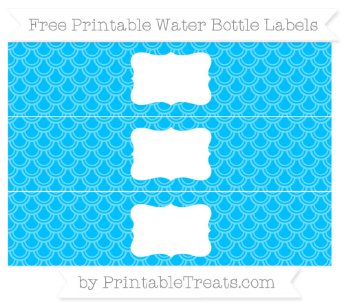 Free Deep Sky Blue Fish Scale Pattern Water Bottle Labels