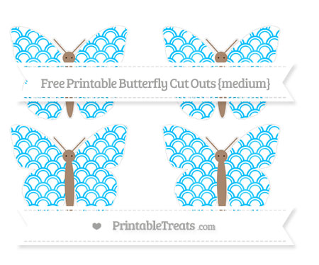 Free Deep Sky Blue Fish Scale Pattern Medium Butterfly Cut Outs