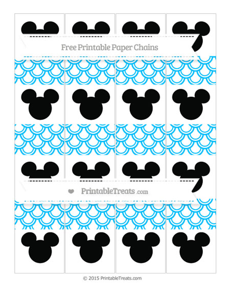 Free Deep Sky Blue Fish Scale Pattern Mickey Mouse Paper Chains