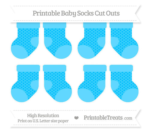 Free Deep Sky Blue Fish Scale Pattern Small Baby Socks Cut Outs
