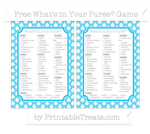 Free Deep Sky Blue Fish Scale Pattern What's in Your Purse Baby Shower Game