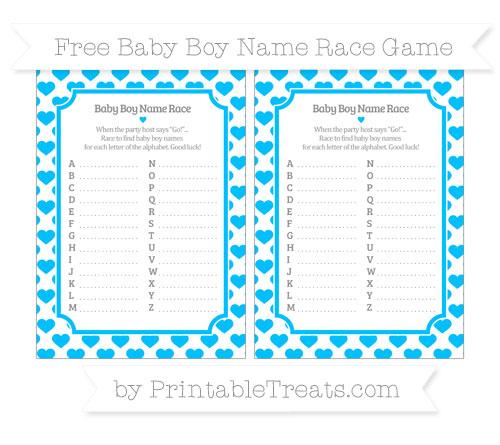 Free Deep Sky Blue Heart Pattern Baby Boy Name Race Game