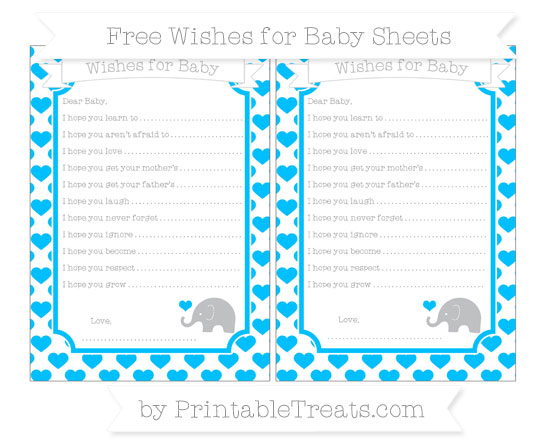 Free Deep Sky Blue Heart Pattern Baby Elephant Wishes for Baby Sheets