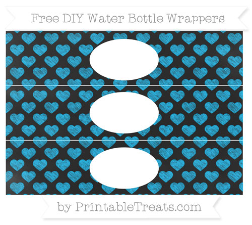 Free Deep Sky Blue Heart Pattern Chalk Style DIY Water Bottle Wrappers