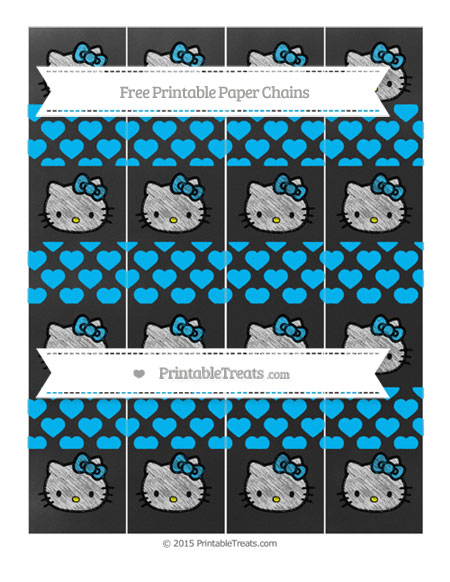 Free Deep Sky Blue Heart Pattern Chalk Style Hello Kitty Paper Chains
