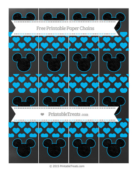 Free Deep Sky Blue Heart Pattern Chalk Style Mickey Mouse Paper Chains