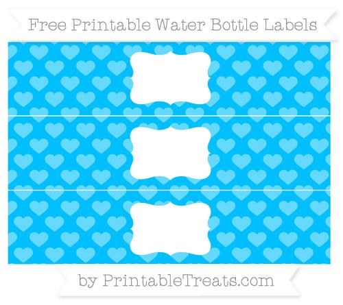 Free Deep Sky Blue Heart Pattern Water Bottle Labels