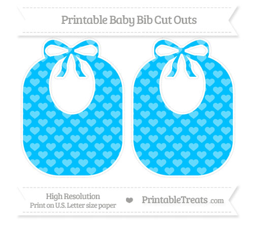 Free Deep Sky Blue Heart Pattern Large Baby Bib Cut Outs