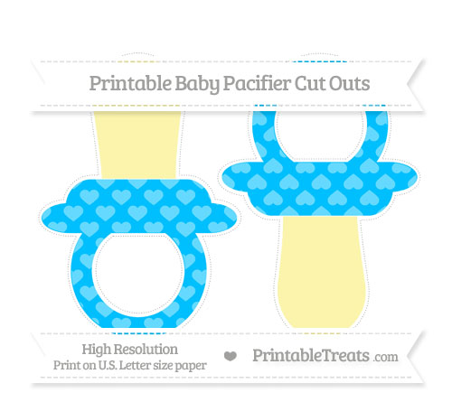 Free Deep Sky Blue Heart Pattern Large Baby Pacifier Cut Outs