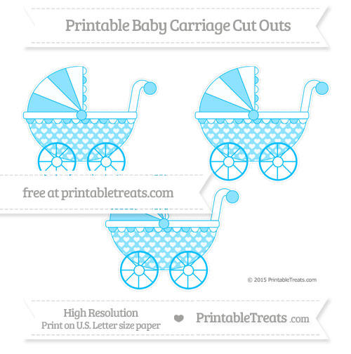 Free Deep Sky Blue Heart Pattern Medium Baby Carriage Cut Outs