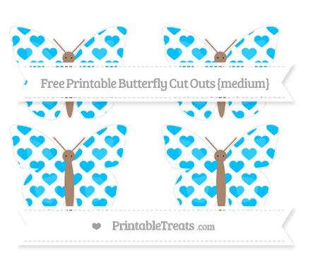 Free Deep Sky Blue Heart Pattern Medium Butterfly Cut Outs
