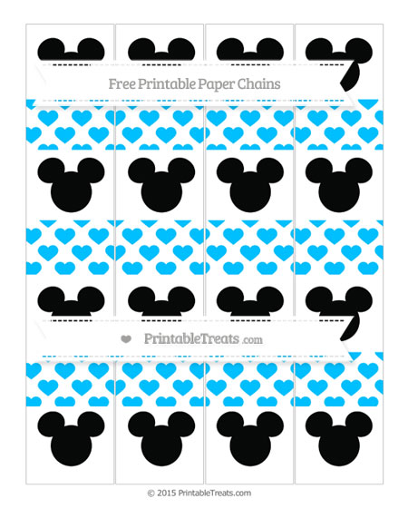 Free Deep Sky Blue Heart Pattern Mickey Mouse Paper Chains