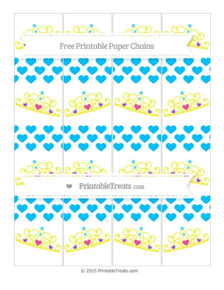 Free Deep Sky Blue Heart Pattern Princess Tiara Paper Chains