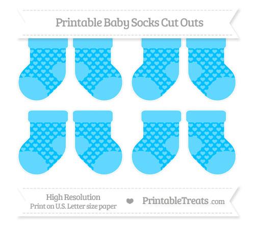 Free Deep Sky Blue Heart Pattern Small Baby Socks Cut Outs