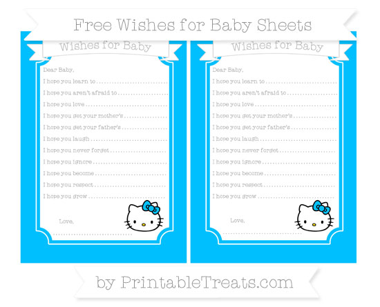 Free Deep Sky Blue Hello Kitty Wishes for Baby Sheets