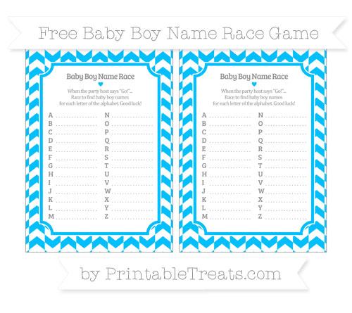 Free Deep Sky Blue Herringbone Pattern Baby Boy Name Race Game