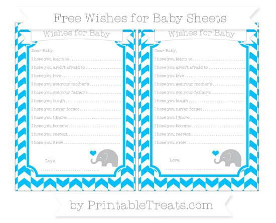 Free Deep Sky Blue Herringbone Pattern Baby Elephant Wishes for Baby Sheets