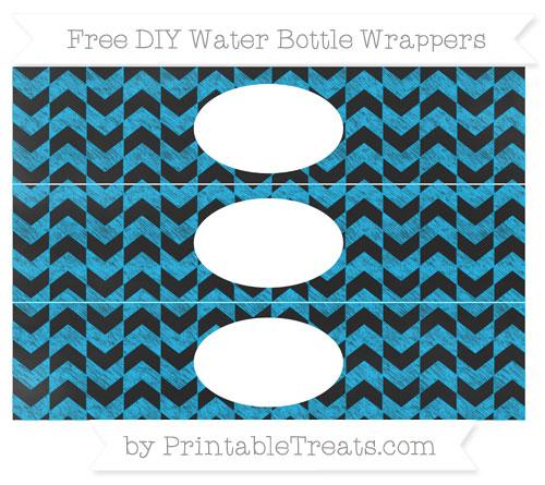 Free Deep Sky Blue Herringbone Pattern Chalk Style DIY Water Bottle Wrappers
