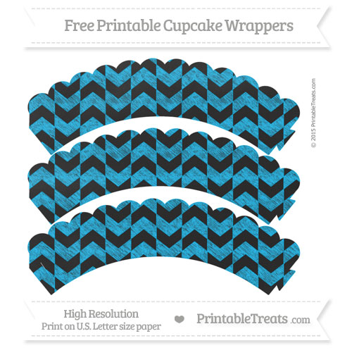 Free Deep Sky Blue Herringbone Pattern Chalk Style Scalloped Cupcake Wrappers