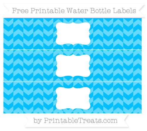 Free Deep Sky Blue Herringbone Pattern Water Bottle Labels