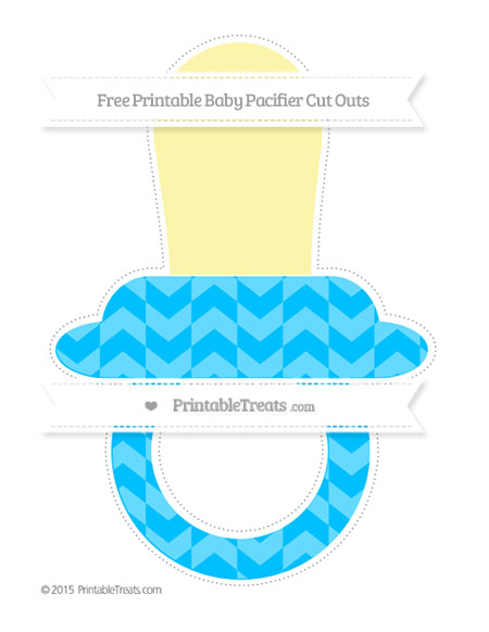 Free Deep Sky Blue Herringbone Pattern Extra Large Baby Pacifier Cut Outs
