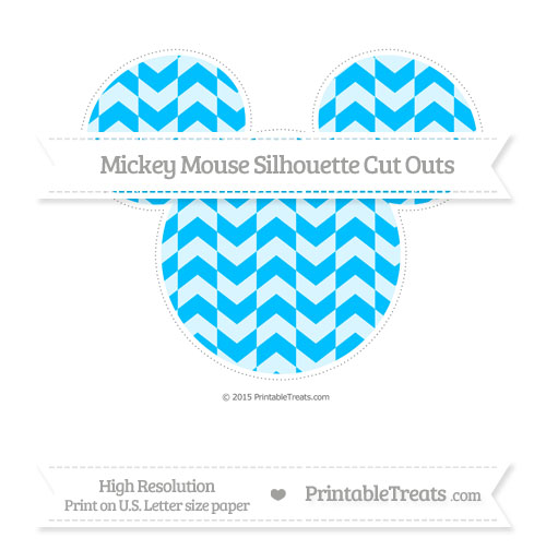 Free Deep Sky Blue Herringbone Pattern Extra Large Mickey Mouse Silhouette Cut Outs