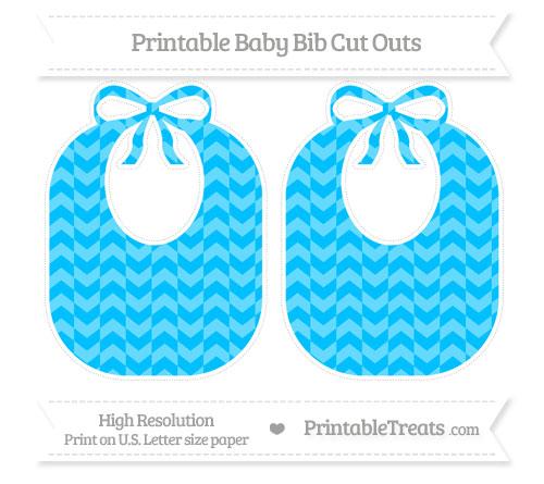 Free Deep Sky Blue Herringbone Pattern Large Baby Bib Cut Outs