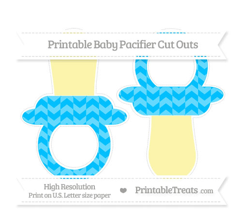 Free Deep Sky Blue Herringbone Pattern Large Baby Pacifier Cut Outs