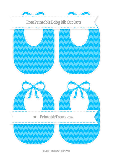Free Deep Sky Blue Herringbone Pattern Medium Baby Bib Cut Outs