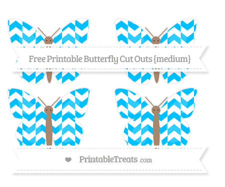 Free Deep Sky Blue Herringbone Pattern Medium Butterfly Cut Outs