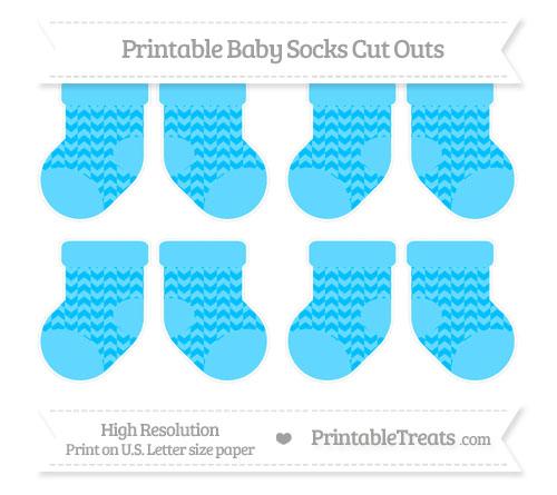 Free Deep Sky Blue Herringbone Pattern Small Baby Socks Cut Outs