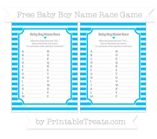Free Deep Sky Blue Horizontal Striped Baby Boy Name Race Game