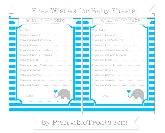 Free Deep Sky Blue Horizontal Striped Baby Elephant Wishes for Baby Sheets