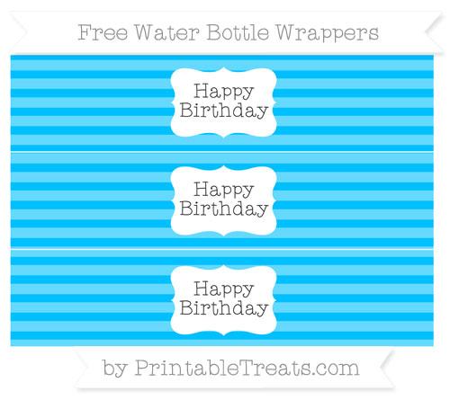 Free Deep Sky Blue Horizontal Striped Happy Birhtday Water Bottle Wrappers