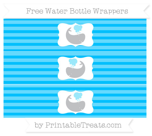 Free Deep Sky Blue Horizontal Striped Whale Water Bottle Wrappers