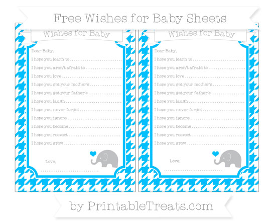 Free Deep Sky Blue Houndstooth Pattern Baby Elephant Wishes for Baby Sheets