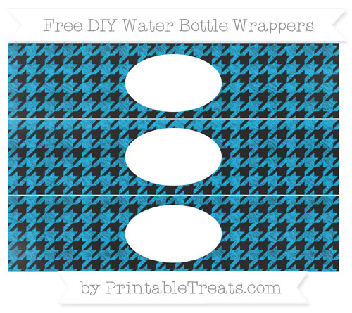 Free Deep Sky Blue Houndstooth Pattern Chalk Style DIY Water Bottle Wrappers