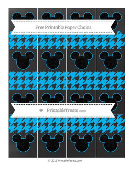 Free Deep Sky Blue Houndstooth Pattern Chalk Style Mickey Mouse Paper Chains