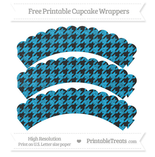 Free Deep Sky Blue Houndstooth Pattern Chalk Style Scalloped Cupcake Wrappers