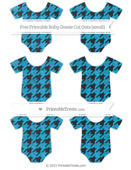 Free Deep Sky Blue Houndstooth Pattern Chalk Style Small Baby Onesie Cut Outs