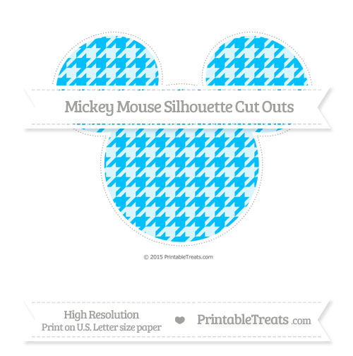 Free Deep Sky Blue Houndstooth Pattern Extra Large Mickey Mouse Silhouette Cut Outs