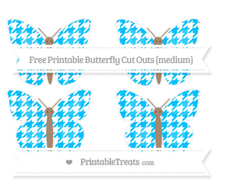 Free Deep Sky Blue Houndstooth Pattern Medium Butterfly Cut Outs