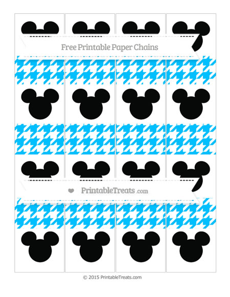 Free Deep Sky Blue Houndstooth Pattern Mickey Mouse Paper Chains