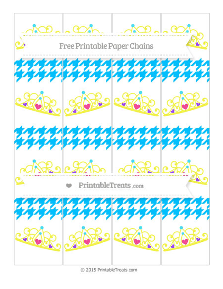 Free Deep Sky Blue Houndstooth Pattern Princess Tiara Paper Chains