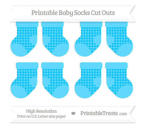 Free Deep Sky Blue Houndstooth Pattern Small Baby Socks Cut Outs