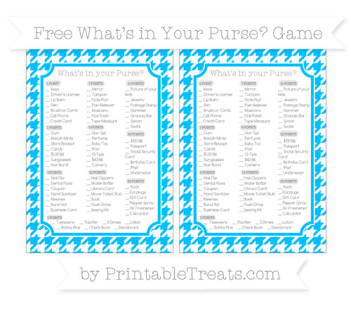 Free Deep Sky Blue Houndstooth Pattern What's in Your Purse Baby Shower Game