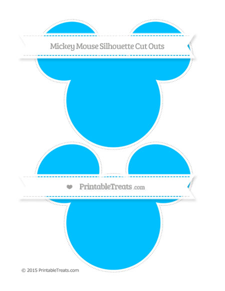 Free Deep Sky Blue Large Mickey Mouse Silhouette Cut Outs