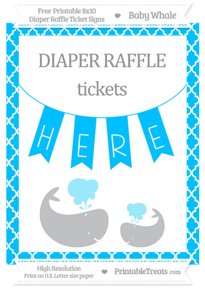 Free Deep Sky Blue Moroccan Tile Baby Whale 8x10 Diaper Raffle Ticket Sign